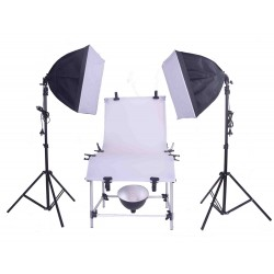 Pro 60cm x 130cm Photo with 2 softboxes and under table lamp
