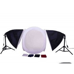 60cm Cube light tent KIt with 2 softboxes and stands