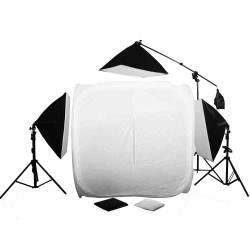 150cm Cube & 3 softboxes with 2 stands and  boom kit
