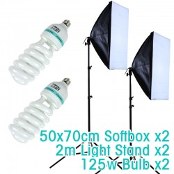 Continuous softbox kit x 2 with 125W bulbs and stands