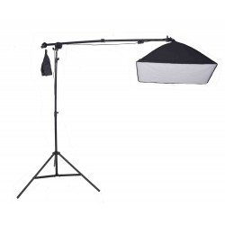 boom arm kit and 50cm x 70cm collapsible softbox  with 125W bulb