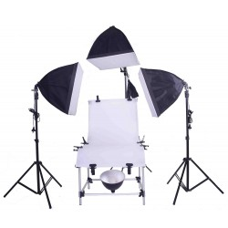 Pro 60cm x 130cm Pro Photo table with 3 softboxes, under table lamp and boom kit