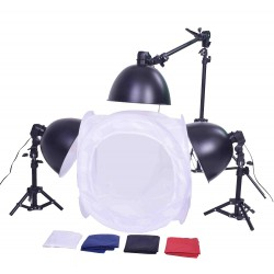 40cm Cube & 3 lamps with stands, boom kit  and carry bag
