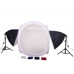 80cm Cube light tent KIt with 2 softboxes and stands