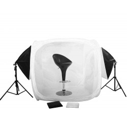 120cm Cube light tent Kit with 2 large softboxes and stands
