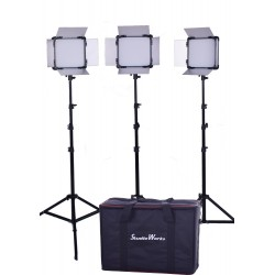 3 x LED 528 Light panel and 3 stands and bag kit