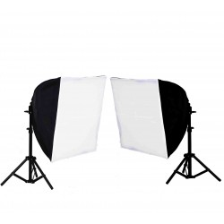2 x Quick Softbox 50 x 50cm with 2 x 85W bulbs and 2 small stands