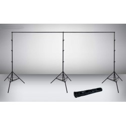 Heavy Duty 6m long backdrop system with 3 x 2.9m stands and 2 telescopic crossbars