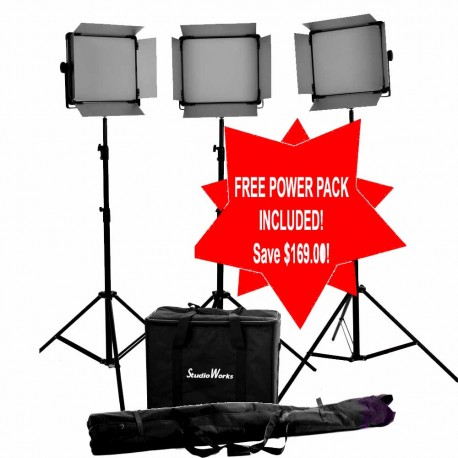 3 x LED 2000 Bi Colour DMX Light panel with 3 stands and carry bag kit