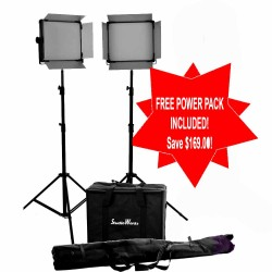 2 x LED 2000 Bi Colour DMX Light panel with 2 stands and carry bag kit